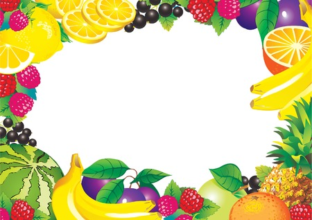 Beautiful fruits frame and sample text. Healthy food. Vector art-illustration. Stock Vector - 5374119