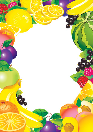 Beautiful fruits frame and sample text. Healthy food. Vector art-illustration. Vector