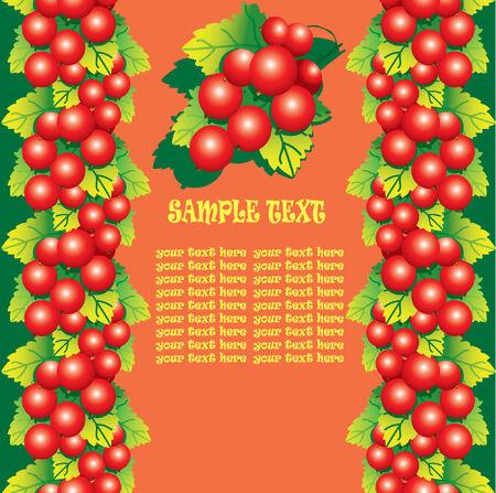 レッドカラント: 緑の葉とサンプル テキスト赤スグリ。健康食品。ベクトル アート イラスト。  イラスト・ベクター素材