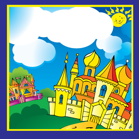 Beautiful palace in sunny weather. Vector art-illustration. Vector