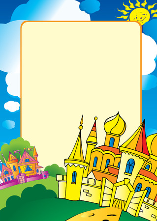 Beautiful palace and sample text. Vector art-illustration. Vector