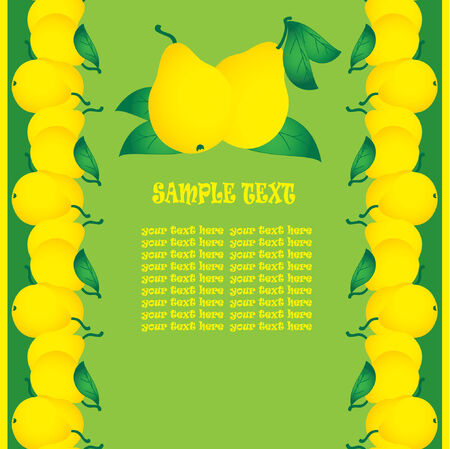 fruited: Group of fresh ripe pears with green leaves on a green background. Sample text. Vector art-illustration.
