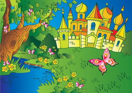 Beautiful  landscape with a castle and river. Fairy-tale. Vector art-illustration.