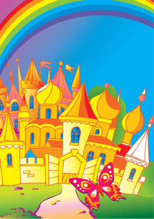 Beautiful palace with a butterfly and rainbow. Fairy-tale. Vector art-illustration. Vector