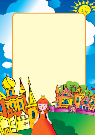 Beautiful palace with princess and a place for sample text. Vector art-illustration. Vector