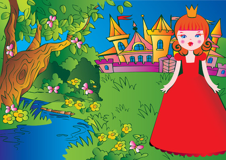 Beautiful princess on the meadow in a red dress on a castle background. Fairy-tale. Vector art-illustration. Иллюстрация
