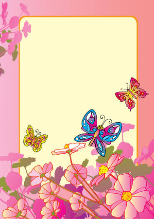 Beautiful flowers with butterflies. Sample text. Vector art-illustration. Vector