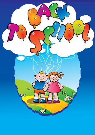 Children go to school. Back to school. Vector art-illustration. Stock Vector - 5374129
