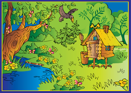 hut: Hut on chicken legs in woods. Fairy-tale. Vector art-illustration.
