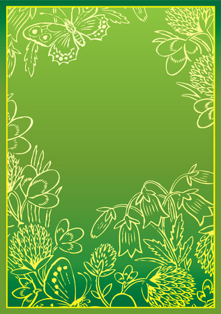 buttercup  decorative: Floral frame in the form of oval with sample text. Vector art-illustration.