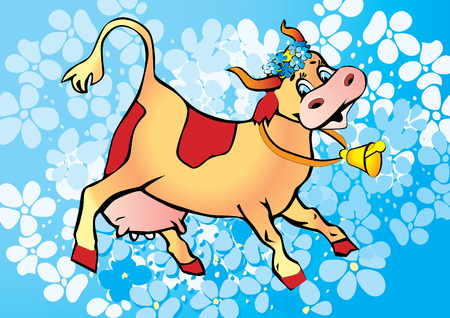The happy cow on the background of the flowers. Vector art-illustration.