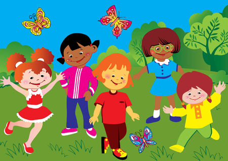 Happy children playing in the park. Happy childhood. Vector art-illustration.