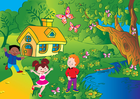 Enfants heureux de jouer. Enfance heureuse. Vecteur art-illustration. Vecteurs