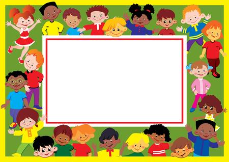 gladness: Glad kids frame. Place for sample text. Happy childhood. Vector art-illustration. Illustration