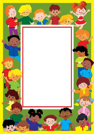Glad kids frame. Place for sample text. Happy childhood. Vector art-illustration. Vector