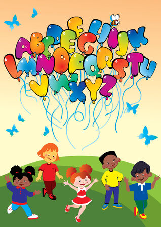 Happy kids playing with balloons in the form of the alphabet. Place for sample text. Vector art-illustration. Illustration