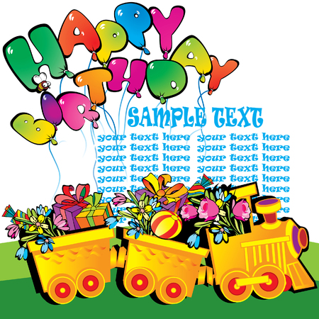 birthday train: Happy birthday train carrying presents. Place for sample text. Vector art-illustration. Illustration