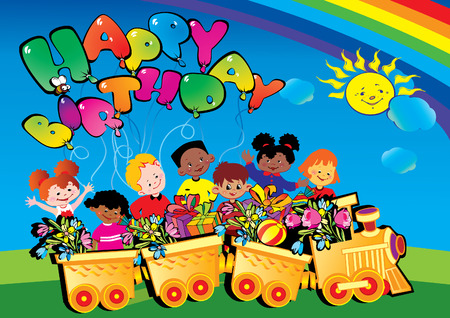 Happy birthday train with children carrying presents. Place for sample text. Vector art-illustration.