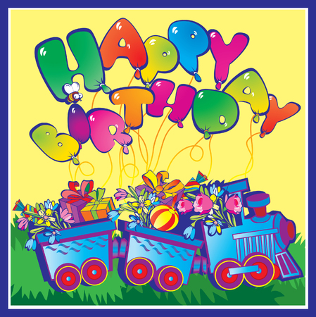 Happy birthday train carrying presents. Vector art-illustration. Vector