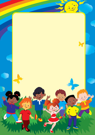 Friendship and equality. Place for sample text. Happy childhood. Vector art-illustration.