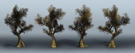 Trees on a grey background. 3D art-illustration. Stock Illustration - 5960486