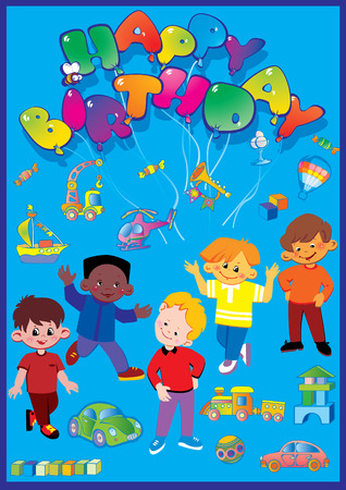Beautiful boys with lots of birthday gifts. Happy childhood. Vector art-illustration. Vector
