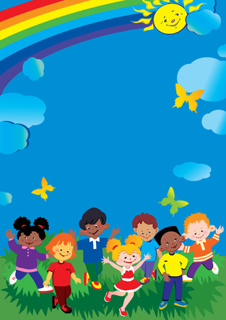 Friendship and equality. Place for sample text. Happy childhood. Vector art-illustration. Illustration