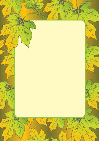 Beautiful frame of autumn maple leaves. Place for sample text. Vector art-illustration. Stock Vector - 6015146