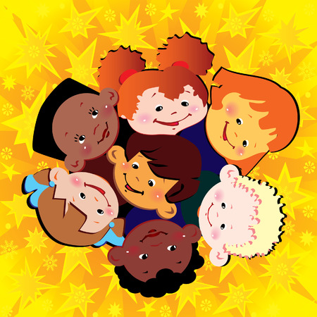 Happy children of different nationalities play together. Vector art-illustration. Stock Vector - 6015147