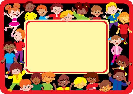 Marco de niños contentos. Lugar para el texto de ejemplo. Infancia feliz. Vector de arte-ilustración. Ilustración de vector