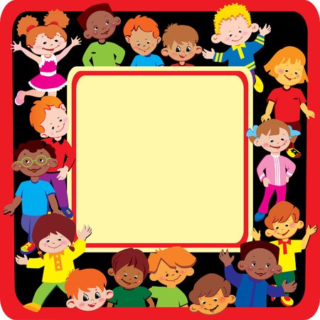 Glad kids frame. Place for sample text. Happy childhood. Vector art-illustration. Illustration