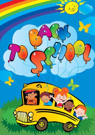 Back to school. Children go to school to learn. Vector art-illustration. Stock Vector - 6015143