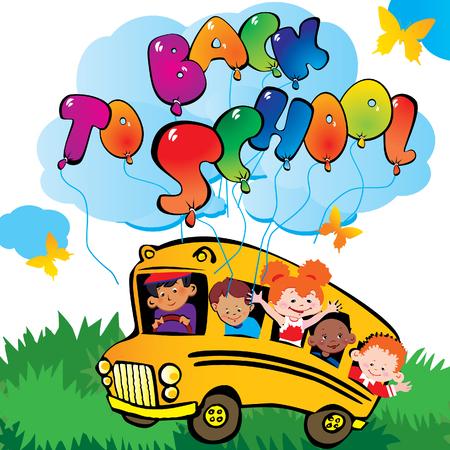 Back to school. Children go to school to learn. Vector art-illustration. Stock Vector - 6015142