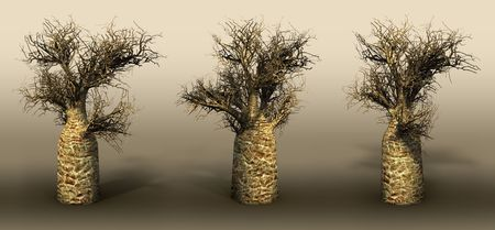 Bottle trees on a grey background. 3D art-illustration. Stock Illustration - 6015162