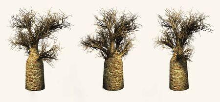 Bottle trees on a yellow background. 3D art-illustration. Stock Illustration - 6015167