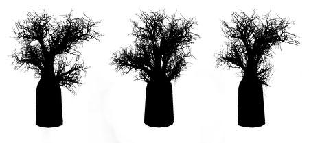 Silhouette of bottle treeson a white background. 3D art-illustration. illustration