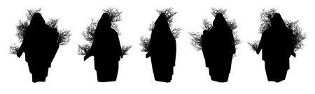 Silhouette of trees on a white background. 3D art-illustration. illustration