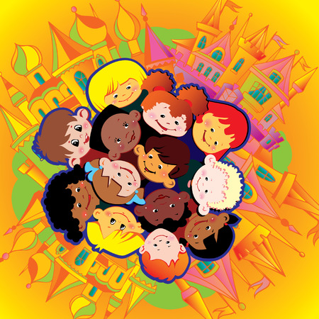 gladness: Happy children of different nationalities play together. Vector art-illustration.