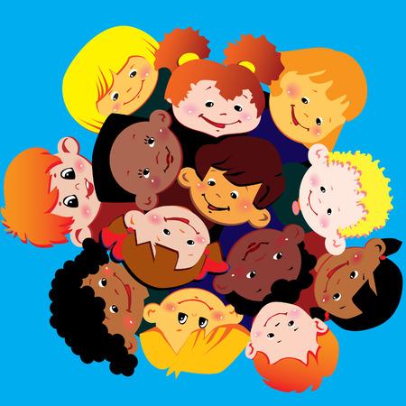Los niños felices de distintas nacionalidades jugar juntos. Vector de arte-ilustración.