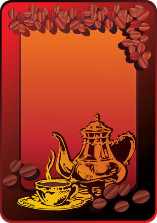 Cup of hot coffee with Arabian coffeepot over brown background. Vector art-illustration. Vector
