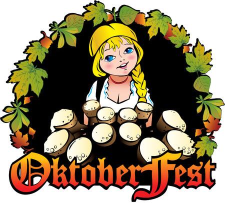 Oktoberfest girl. Girl with beer. Vector art-illustration. Stock Vector - 6032880