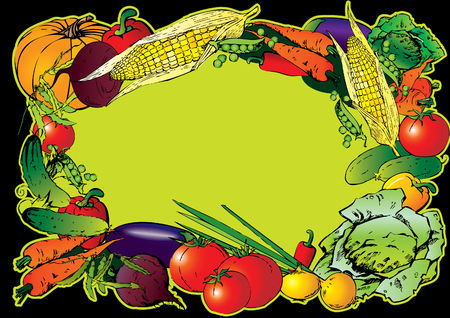 Frame of the different vegetables. Place for sample text. Vector art-illustration. Vector