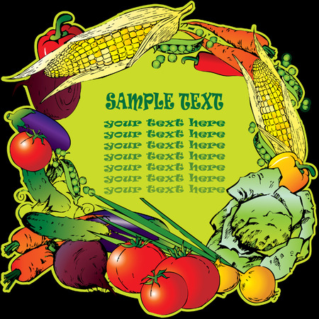 Frame of the different vegetables. Sample text. Vector art-illustration. Vector