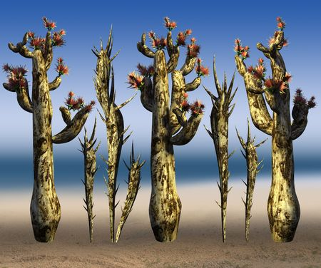 thorn bush: Cacti and thorn on a sea background. 3D art-illustration.