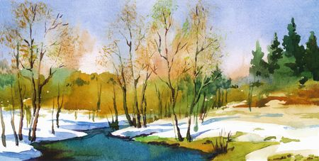 Spring landscape in sunny weather. Watercolor art-illustration.