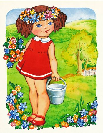 picture postcards: Beautiful girl with flowers. Watercolor art-illustration.