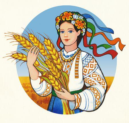 national costume: Beautiful girl in the Ukrainian national costume. Watercolor art-illustration. Stock Photo