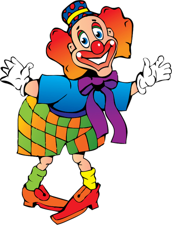 Funny red-haired clown on a white background. Vector art-illustration. Vector