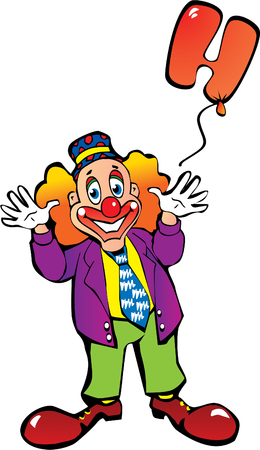 Funny clown with balloons in the form of letters on a white background. Vector art-illustration. Vector
