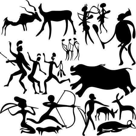 Cave painting on a white background. Vector art-illustration. Иллюстрация